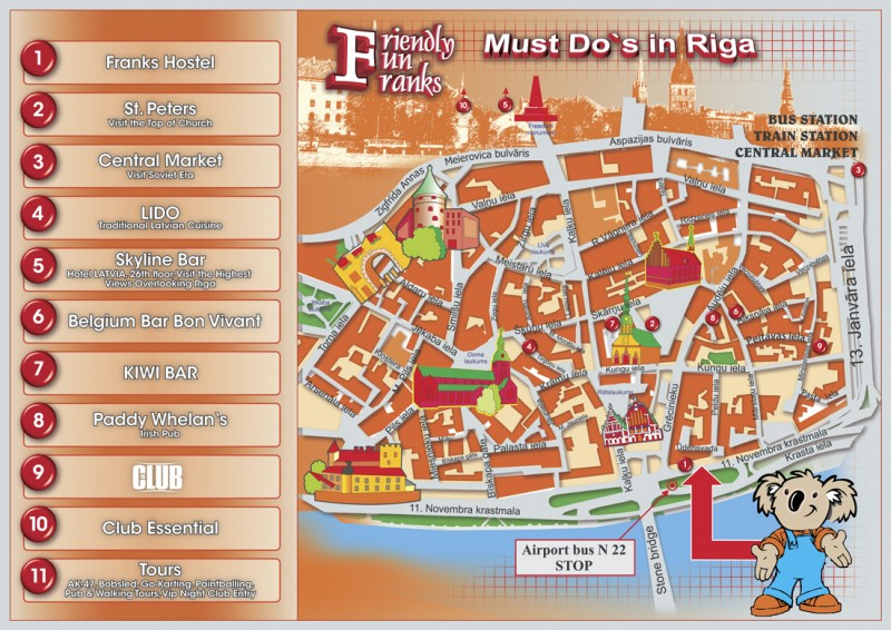 Franks hostel location in Riga old town